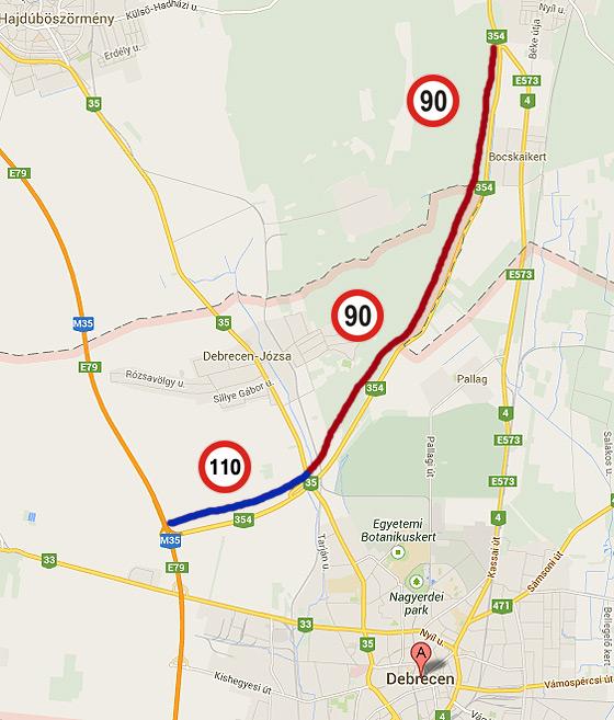 4 es főút debrecen elkerülő térkép Péntektől csak 90 nel lehet autózni a 4 es elkerülő nagy részén  4 es főút debrecen elkerülő térkép