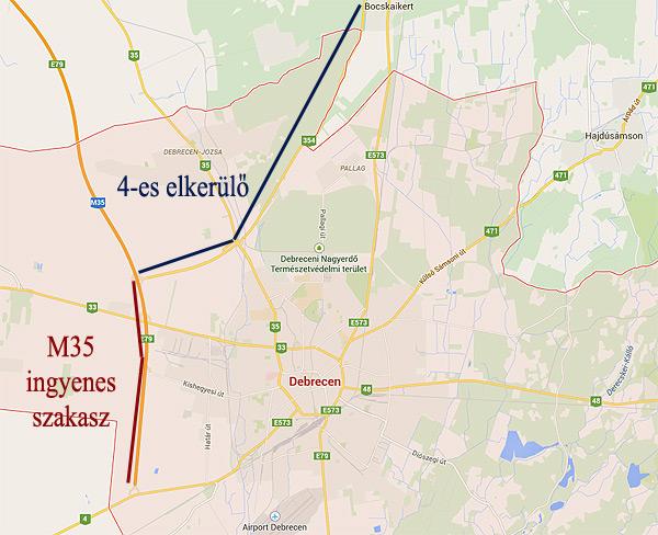 4 es főút debrecen elkerülő térkép A fizetős elkerülők miatt Debrecen útjain is nagyobb lehet a  4 es főút debrecen elkerülő térkép