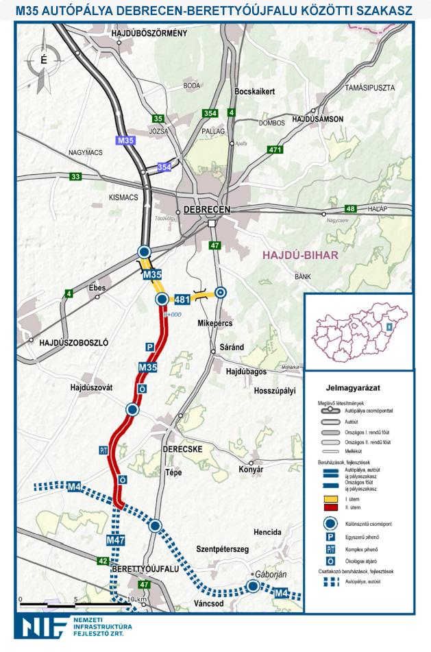 4 es főút debrecen elkerülő térkép Megtudtuk, ki építi az M35 ös autópálya folytatását Debrecentől  4 es főút debrecen elkerülő térkép